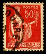 france-circa 1932:a stamp printed in france shows image of symbol of peace, c - stock photo