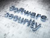 Stock Illustration of Protection concept: Silver Software Security on digital background