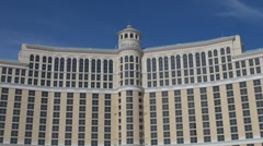 Famous Bellagio resort hotel casino Las Vegas Strip day blue sky summer holiday  Stock Footage