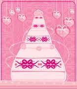 Sweet pink wedding cake Stock Illustration