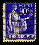 France-circa 1938:a stamp printed in usa shows image of symbol of peace, circ Stock Photos