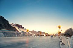 Potala Palace in Lhasa, urban landscape - stock photo