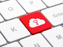 Cloud networking concept: Cloud With Key on computer keyboard background - stock illustration