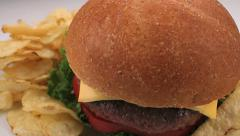 Cheeseburger Bun Potato Chips Close Up Stock Footage