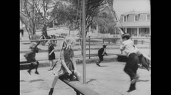 WW2 British Civil Life 14 Children 02 Playing Stock Footage