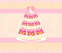 Wedding cake card design Stock Illustration