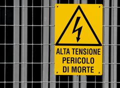 Yellow sign for danger high voltage attention in power station 2 Stock Photos