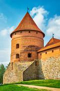 Tower of castle. trakai, lithuania Stock Photos