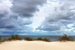 View to curonian gulf from sand dunes Stock Photos
