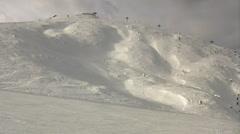 Peak of mountains in ski resort. Beautiful winter day Stock Footage