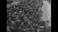 WW2 GB Soldiers 02 Marching in formation, smiling, dead, Armored Vehicles Stock Footage