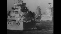 WW2 Royal Navy Warships 02 At sea, Crew with Captain 01 Stock Footage