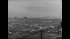WW2 Royal Navy Warships 03 Transport Convoy at Sea, Crew daily life 02 Stock Footage