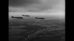 WW2 Royal Air Force Bombers 01 Throwing propaganda leaflets Stock Footage