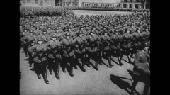 WW2 Allied Solodiers 01 Mixed troops with details marching in formations 01 Stock Footage
