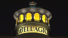 Bellagio resort hotel casino detail closeup Las Vegas Strip night illuminated US Stock Footage
