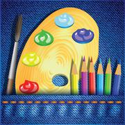 pencils and paintbrush - stock illustration