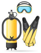 aqualung mask tube and flippers for diving illustration - stock illustration