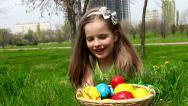 Stock Video Footage of Child find easter egg outdoor.