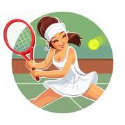 Beautiful girl play tennis Stock Illustration