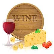 still life with cheese and wine illustration - stock illustration