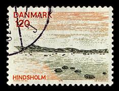 denmark-circa 1974:a stamp printed in denmark shows image of north denmark re - stock photo