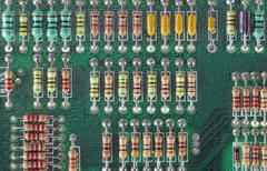 Circuit Board with resistors - stock photo