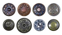 Old metal buttons with stars Stock Photos