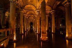Underground cistern with water, istanbul, turkey Stock Photos
