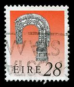 Ireland-circa 1991:a stamp printed in ireland shows image of irish art treasu Stock Photos