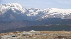 Transalpina, Ranca Village Mountains View, Mountaintop, Snow, Winter Tourism Stock Footage