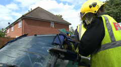 Rescue Services using the Jaws of Life Stock Footage