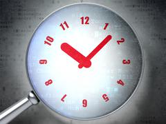 Stock Illustration of Timeline concept: Clock with optical glass on digital background