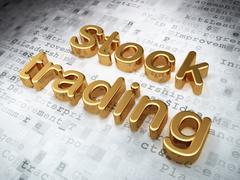 Business concept: Golden Stock Trading on digital background - stock illustration