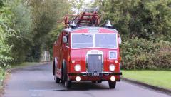 Vintage Denis F12 Fire Engine with Bells & Lights Stock Footage