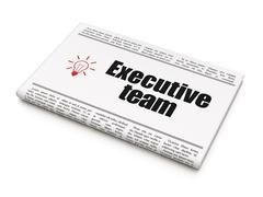Business concept: newspaper with Executive Team and Light Bulb Stock Illustration
