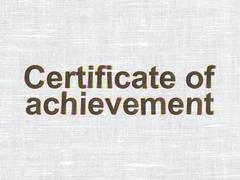 Education concept: Certificate of Achievement on fabric texture background - stock illustration