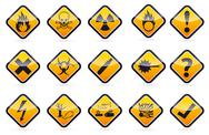 Stock Illustration of danger round corner warning sign set