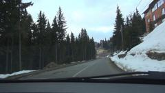 POV Car Driving in Fog, Road in Mountains, Foggy, Misty, Highway Windshield View Stock Footage