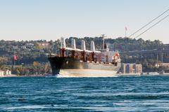 Large ship tanker proceeding along the Bosphorus Stock Photos