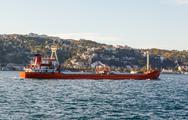 Stock Photo of large ship tanker proceeding along the Bosphorus