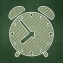 Stock Illustration of Timeline concept: Alarm Clock on chalkboard background