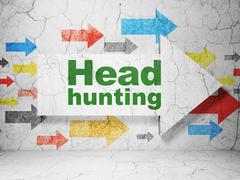 Business concept: arrow with Head Hunting on grunge wall background Stock Illustration
