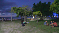 2 angles - evening at the cairns promenade Stock Footage
