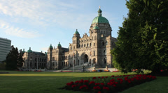 Victoria Parliament Building Morning Flower Beds Stock Footage