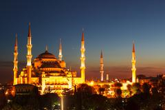 Blue Mosque in Istanbul, with sunset - stock photo