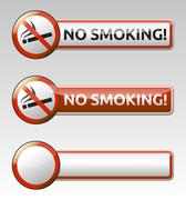 no smoking prohibition sign banner collection - stock illustration