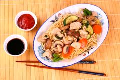 chicken meat with china noodle, vegetables - stock photo