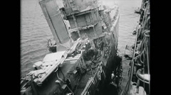 WW2 - US Navy - Pacific - Dutch Harbour - Repairing Ship 04 Stock Footage