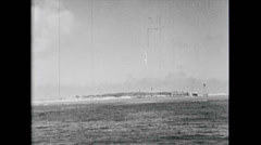 WW2 - US Navy - Pacific - Warships 04 - Ships, Coastal Region, Troops Landing 01 Stock Footage